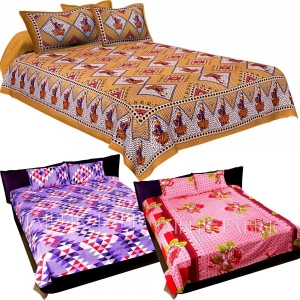COMBO34 - Set of 3 Double Bedsheets with 6 Pillow Covers