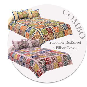 COMBO349 Katha Barmeri 2 Double Bed Sheet + 4 Pillow Cover