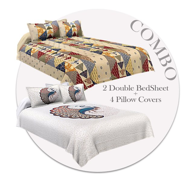 COMBO348 Twill Cotton 2 Double Bed Sheet + 4 Pillow Cover