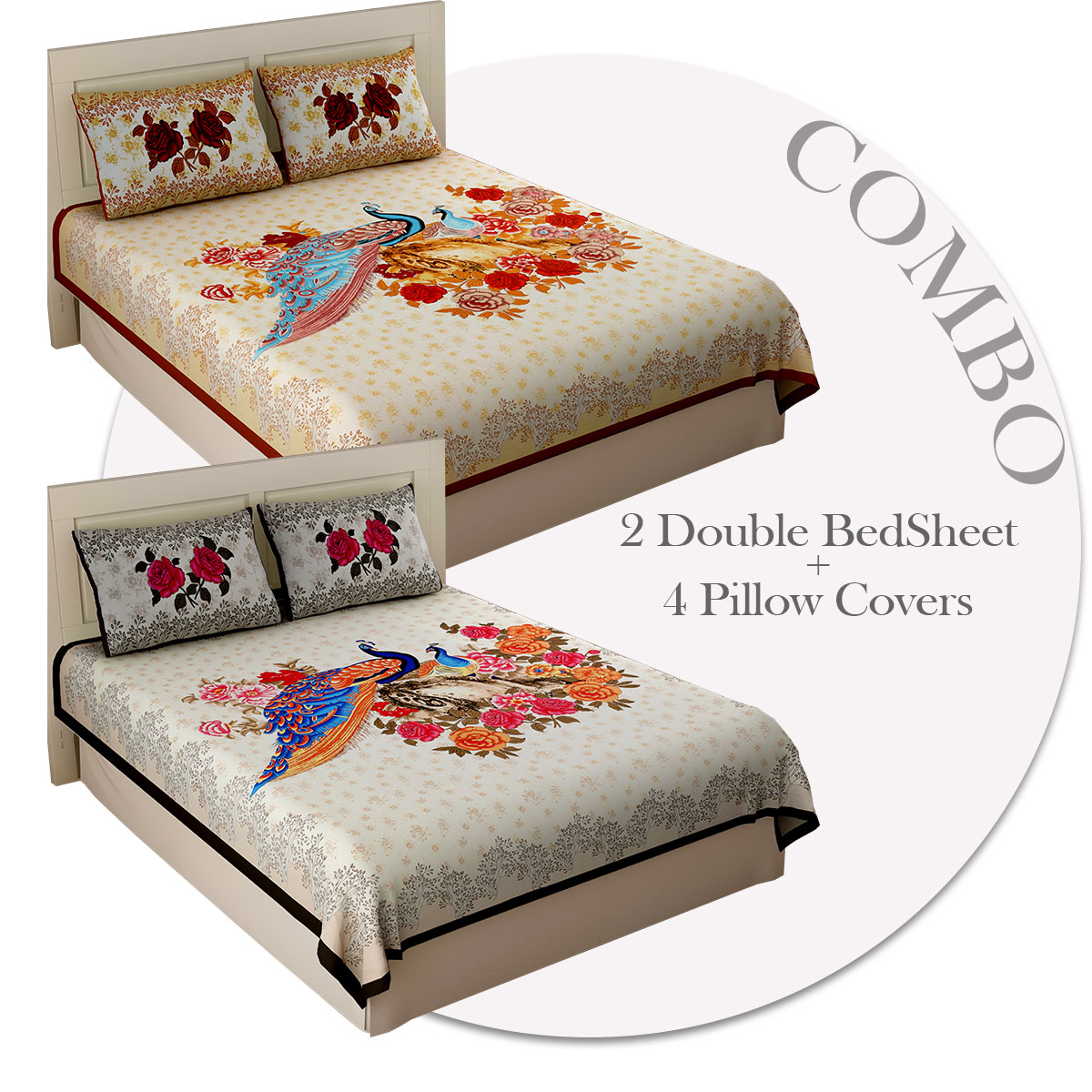 COMBO350 Peacock Garden 2 Double Bed Sheet + 4 Pillow Cover