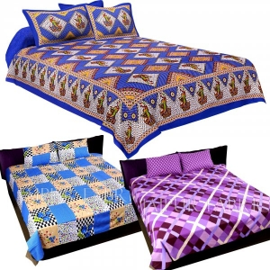 COMBO35 - Set of 3 Double Bedsheets with 6 Pillow Covers