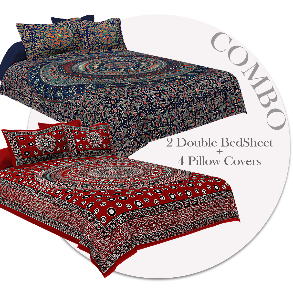 COMBO352 Beautiful Multicolor 2 Bedsheet + 4 Pillow Cover