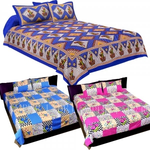 COMBO36 - Set of 3 Double Bedsheets with 6 Pillow Covers