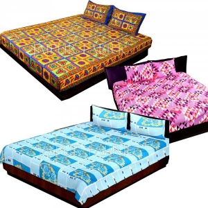 COMBO37 - Set of 3 Double Bedsheets with 6 Pillow Covers