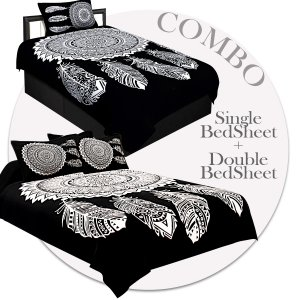 COMBO39- Set of 1 Double Bedsheet and  1 Single Bedsheet With  3 Pillow Cover