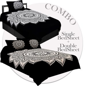 COMBO40- Set of 1 Double Bedsheet and  1 Single Bedsheet With  3 Pillow Cover