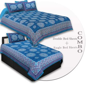 COMBO41- Set of 1 Double Bedsheet and  1 Single Bedsheet With  2+1 Pillow Cover