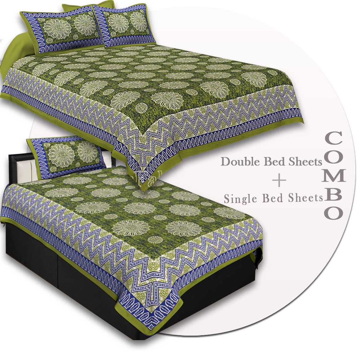 COMBO42- Set of 1 Double Bedsheet and  1 Single Bedsheet With  2+1 Pillow Cover