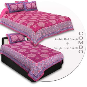COMBO43- Set of 1 Double Bedsheet and  1 Single Bedsheet With  2+1 Pillow Cover