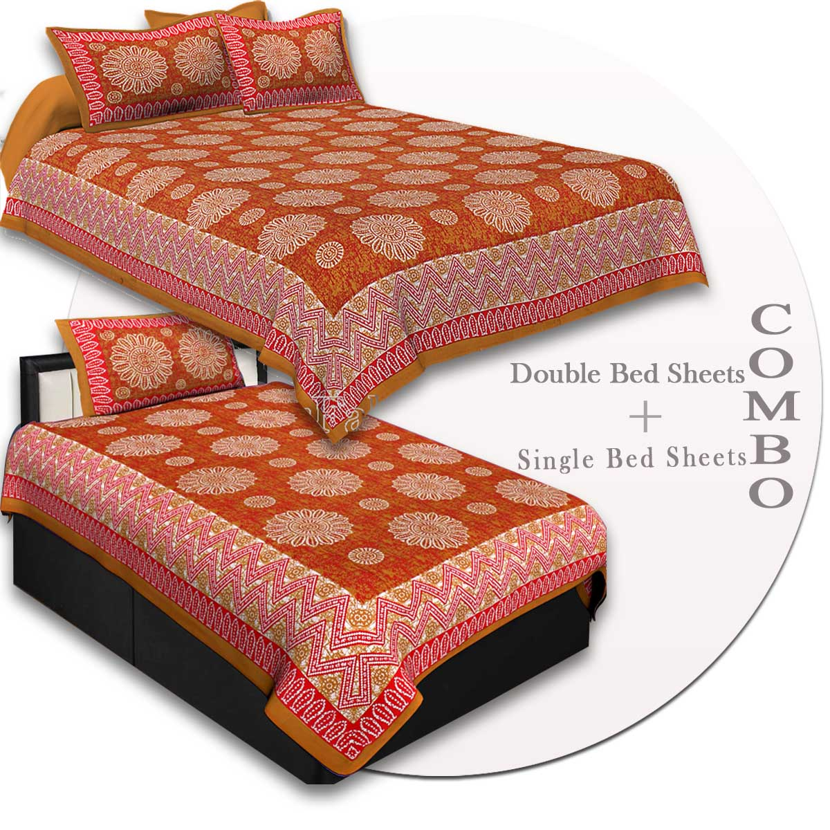 COMBO44- Set of 1 Double Bedsheet and  1 Single Bedsheet With  2+1 Pillow Cover