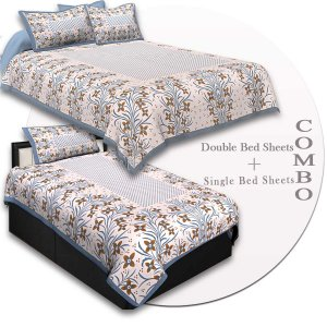COMBO45- Set of 1 Double Bedsheet and  1 Single Bedsheet With  2+1 Pillow Cover