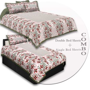 COMBO46- Set of 1 Double Bedsheet and  1 Single Bedsheet With  2+1 Pillow Cover
