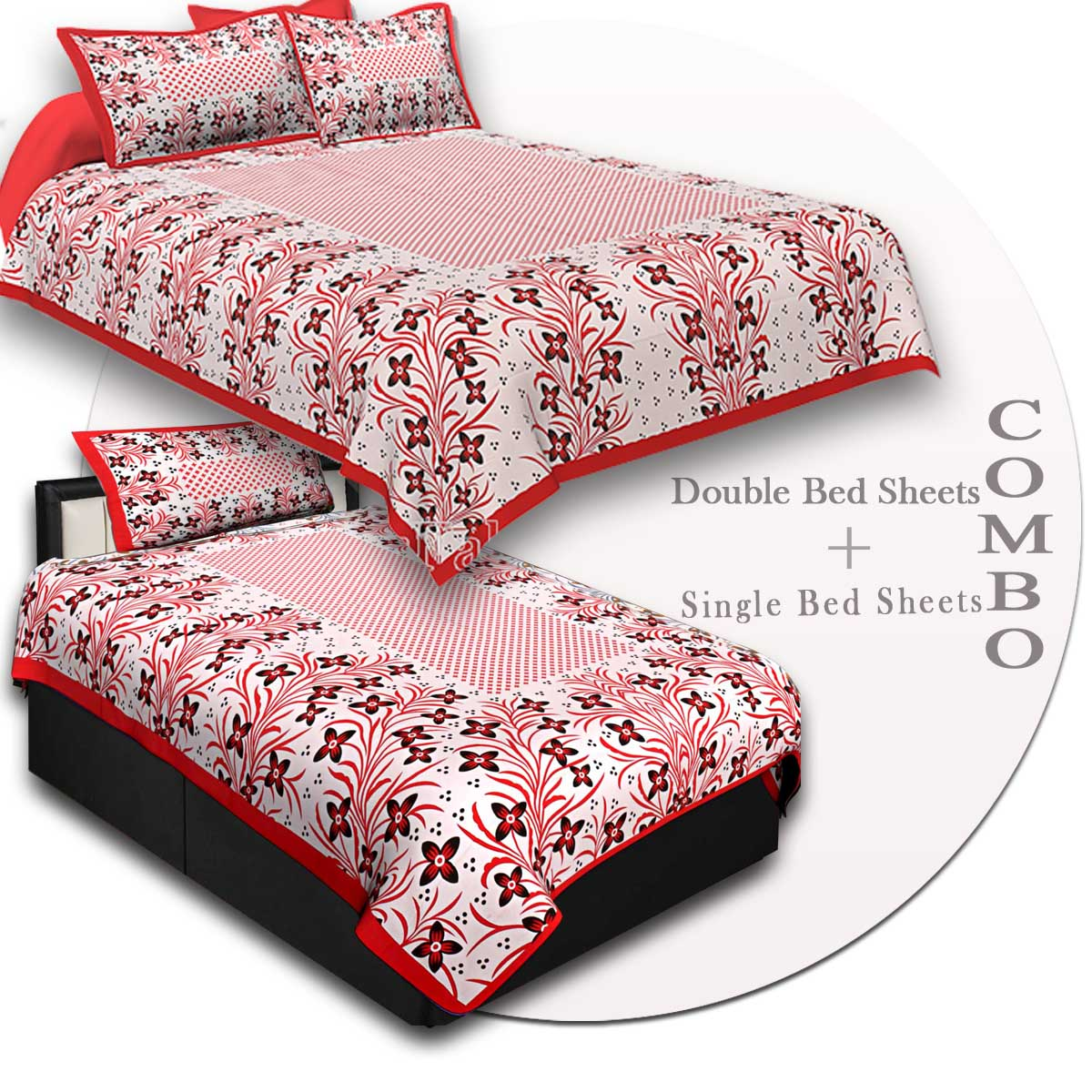 COMBO47- Set of 1 Double Bedsheet and  1 Single Bedsheet With  2+1 Pillow Cover