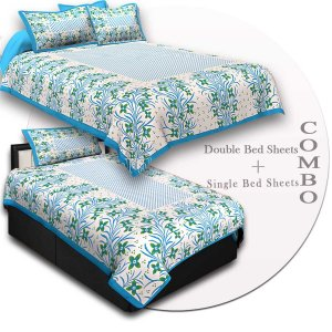 COMBO48- Set of 1 Double Bedsheet and  1 Single Bedsheet With  2+1 Pillow Cover