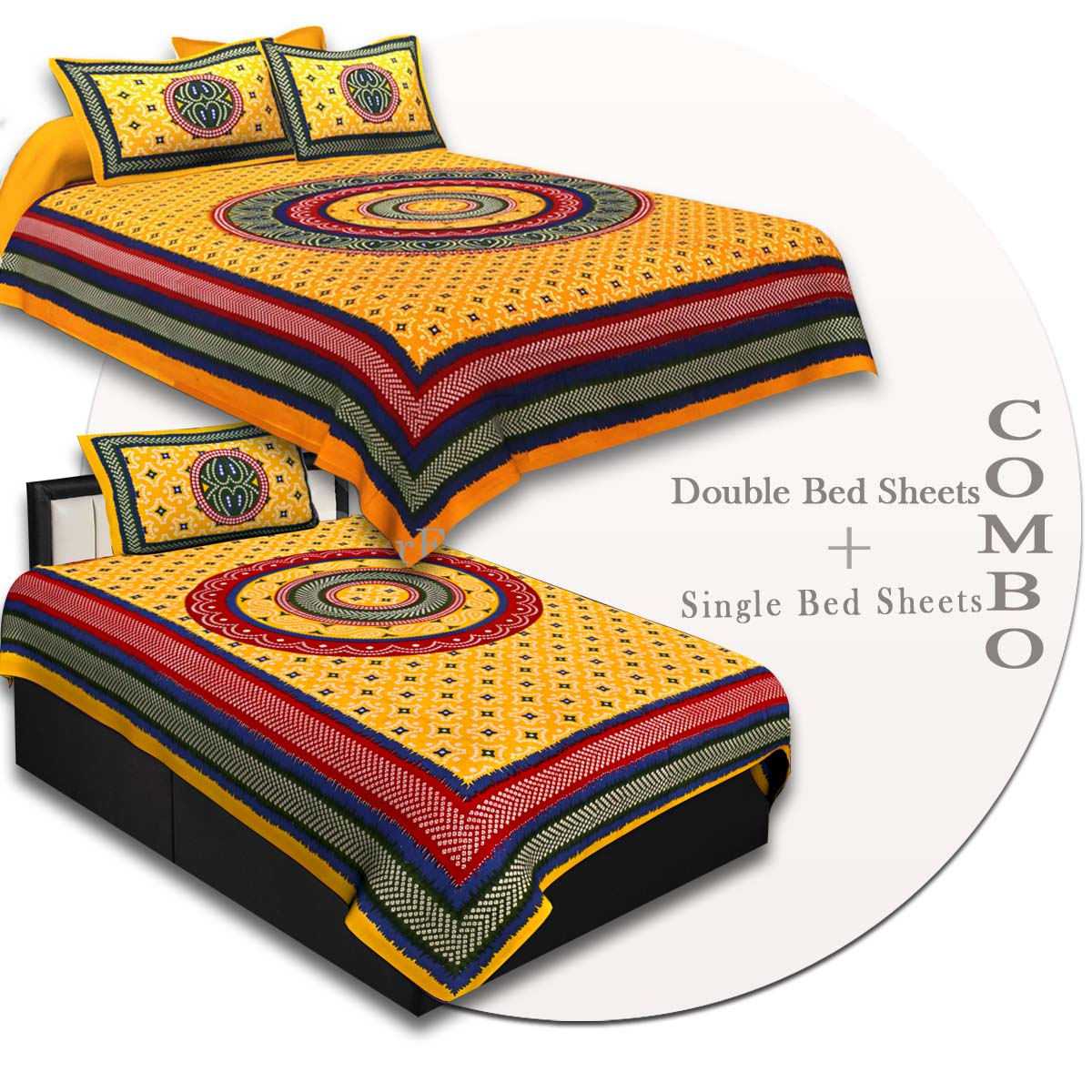 COMBO51- Set of 1 Double Bedsheet and  1 Single Bedsheet With  2+1 Pillow Cover