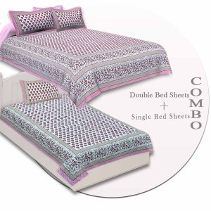 COMBO97 Set of 1 Double Bedsheet and 1 Single Bedsheet With 2+1