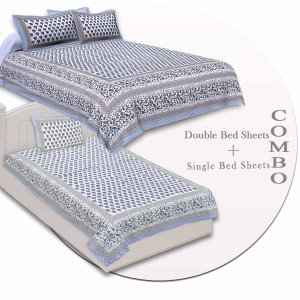 COMBO98 Set of 1 Double Bedsheet and 1 Single Bedsheet With 2+1
