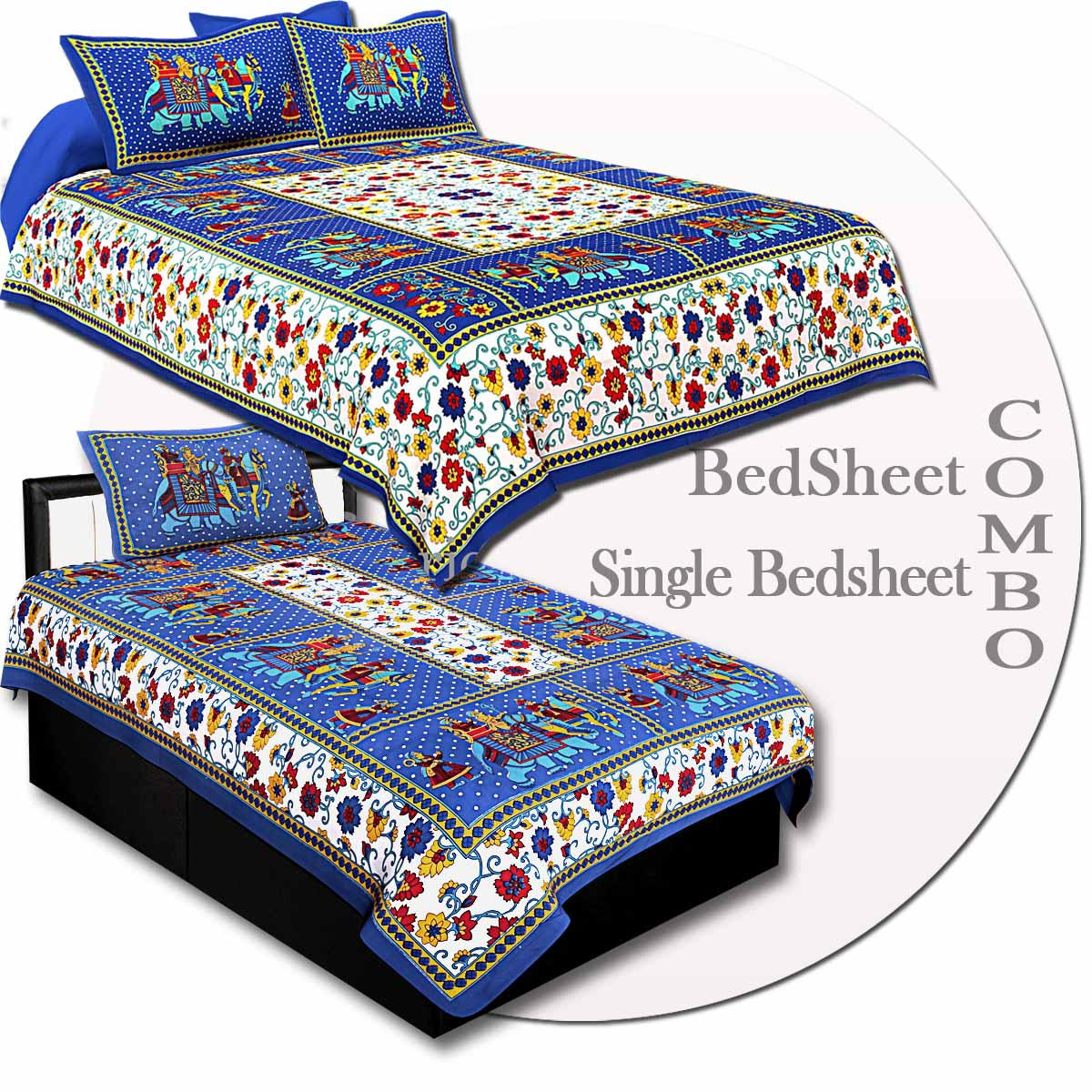COMBO71- Set of 1 Double Bedsheet and  1 Single Bedsheet With  2+1 Pillow Cover