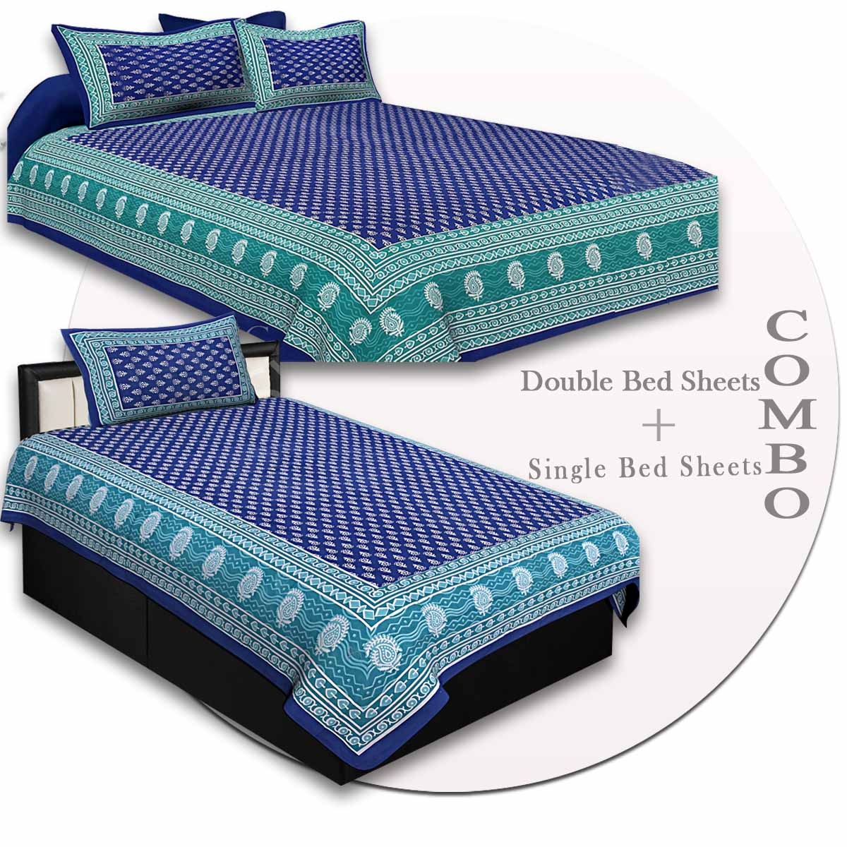 COMBO75- Set of 1 Double Bedsheet and  1 Single Bedsheet With  2+1 Pillow Cover