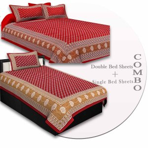 COMBO76- Set of 1 Double Bedsheet and  1 Single Bedsheet With  2+1 Pillow Cover