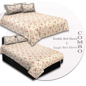 COMBO85- Set of 1 Double Bedsheet and  1 Single Bedsheet With  2+2 Pillow Cover