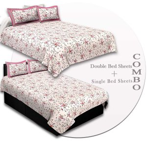 COMBO86- Set of 1 Double Bedsheet and  1 Single Bedsheet With  2+2 Pillow Cover