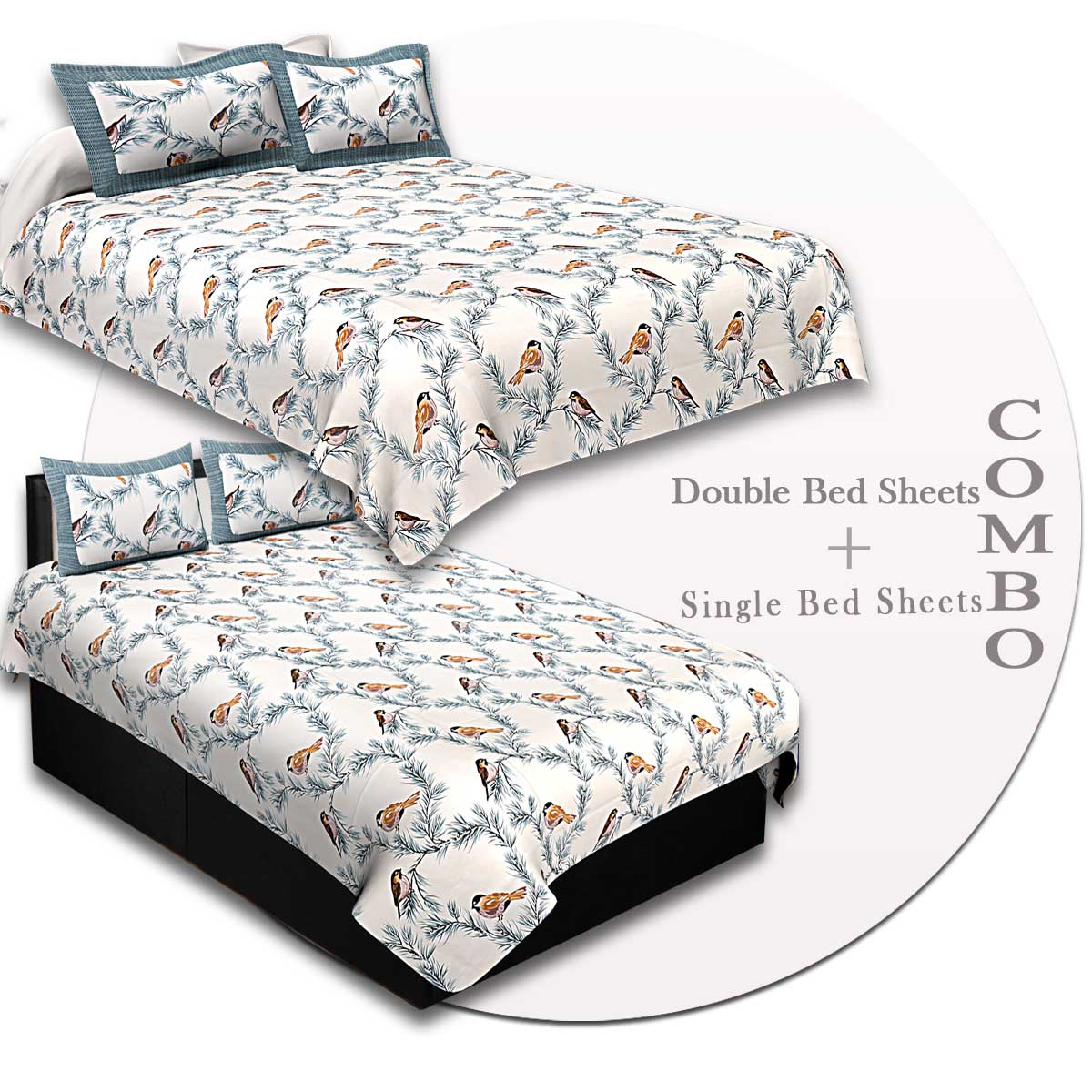 COMBO87- Set of 1 Double Bedsheet and  1 Single Bedsheet With  2+2 Pillow Cover