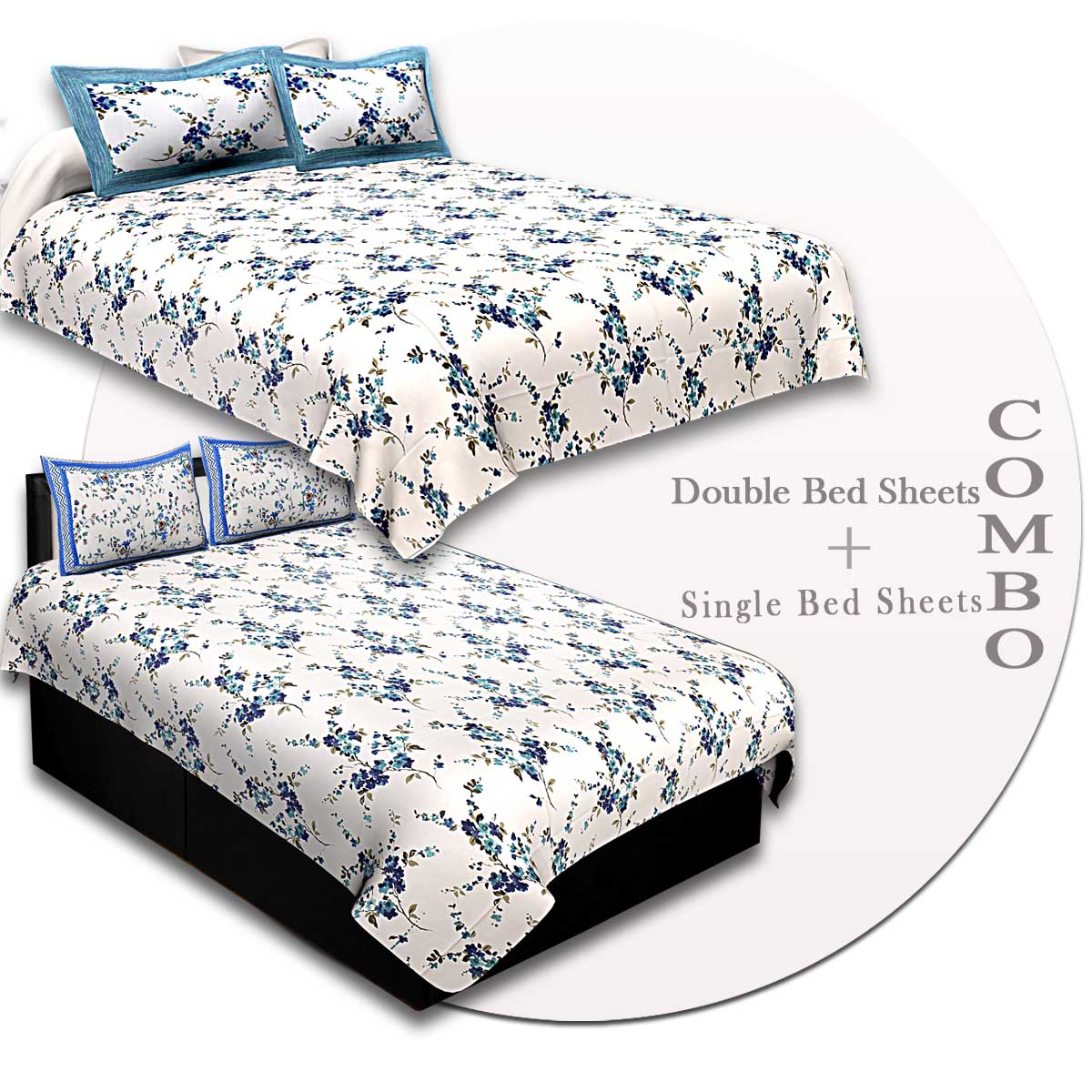 COMBO88- Set of 1 Double Bedsheet and  1 Single Bedsheet With  2+2 Pillow Cover