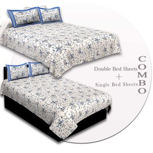COMBO89- Set of 1 Double Bedsheet and  1 Single Bedsheet With  2+2 Pillow Cover