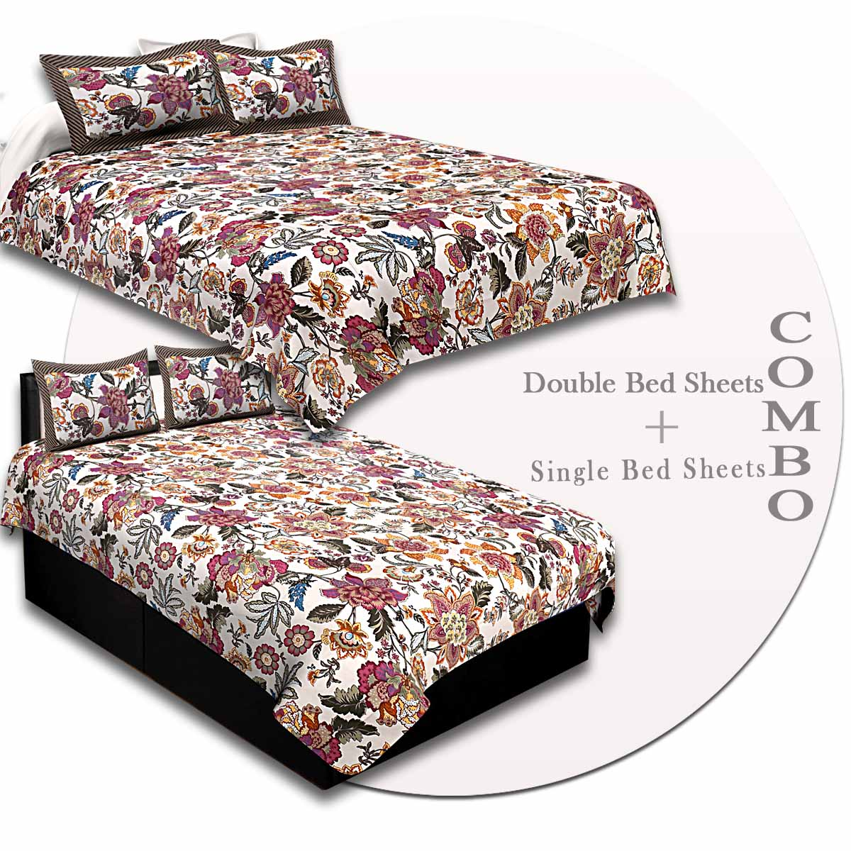 COMBO90- Set of 1 Double Bedsheet and  1 Single Bedsheet With  2+2 Pillow Cover