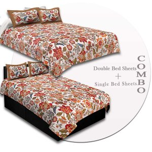 COMBO91- Set of 1 Double Bedsheet and  1 Single Bedsheet With  2+2 Pillow Cover
