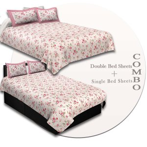 COMBO96- Set of 1 Double Bedsheet and  1 Single Bedsheet With  2+2 Pillow Cover