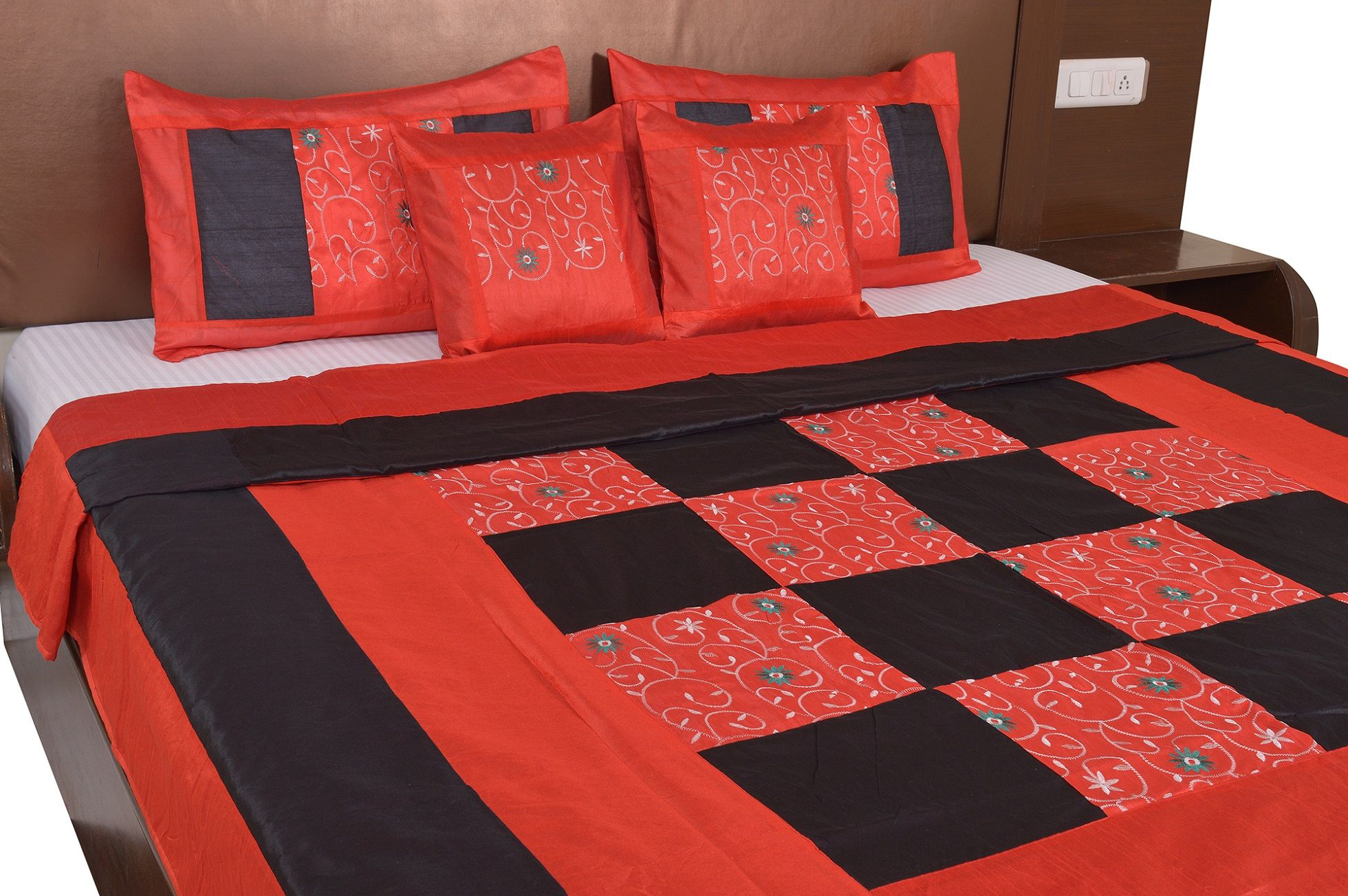 Black And Maroon Color Check With Embroidery Silk festive Double Bed sheet