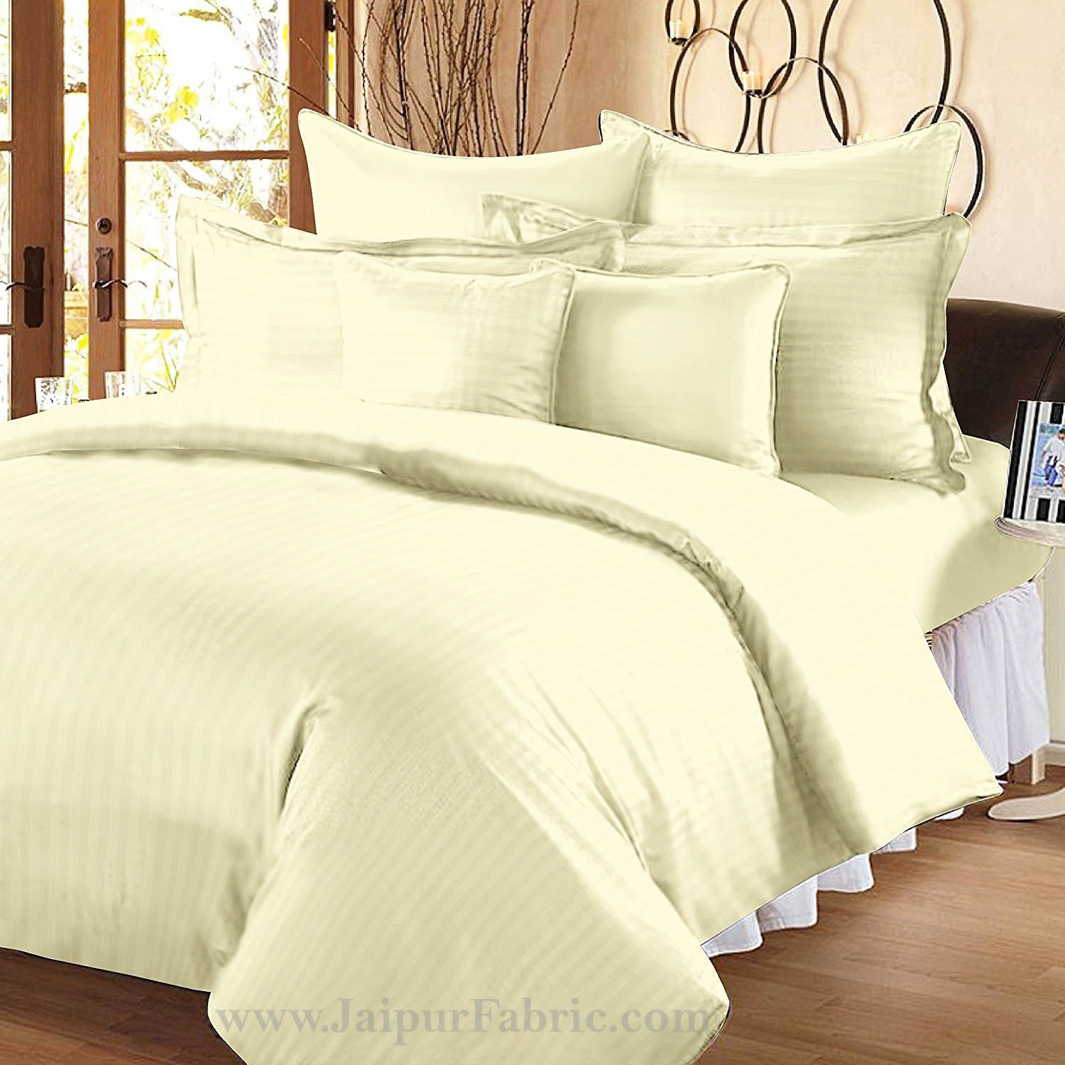 Awesome Off White Self Design 300 TC King Size Pure Cotton Satin Slumber Sheet for Double Bed with 2 pillow covers