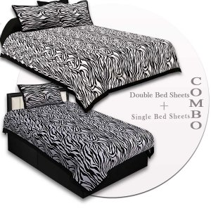 COMBO63- Set of 1 Double Bedsheet and  1 Single Bedsheet With  2+1 Pillow Cover
