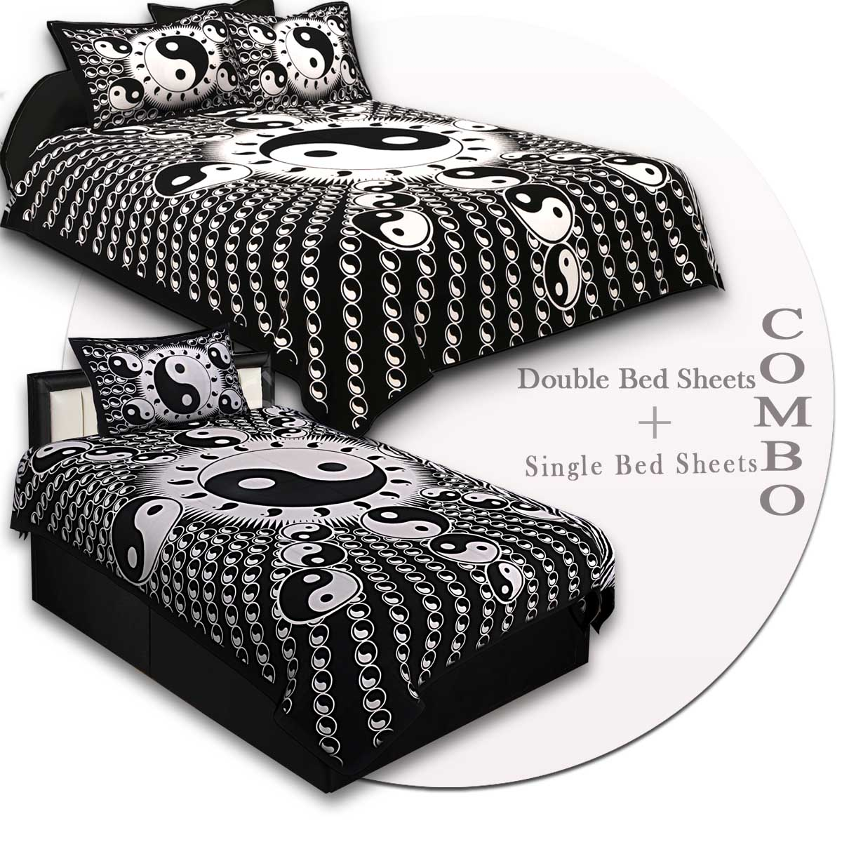 COMBO64- Set of 1 Double Bedsheet and  1 Single Bedsheet With  2+1 Pillow Cover