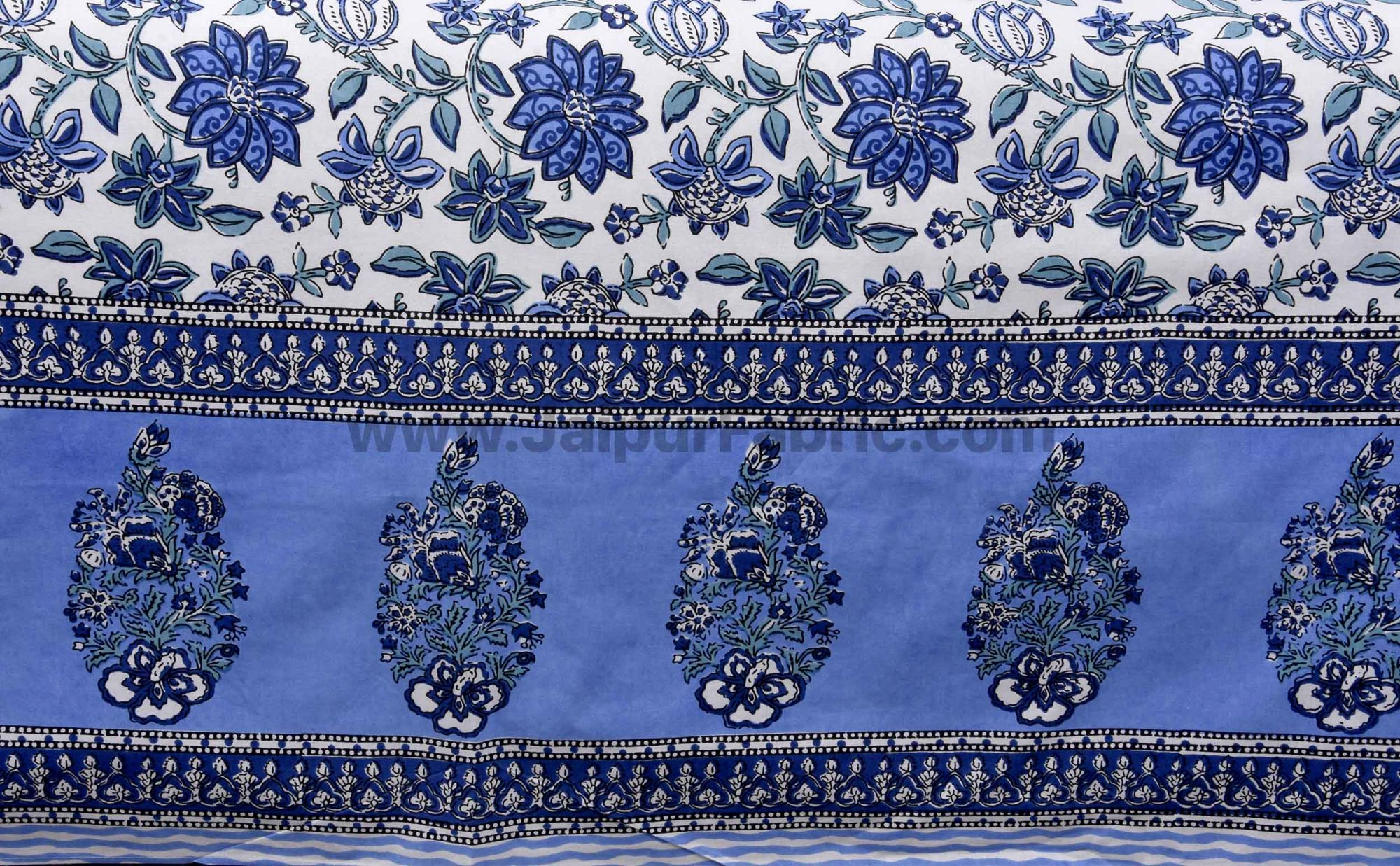 Blue Floral Carnival Double Bedsheet