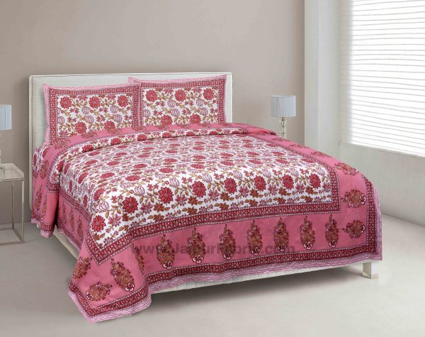 Peach Floral Carnival Double Bedsheet