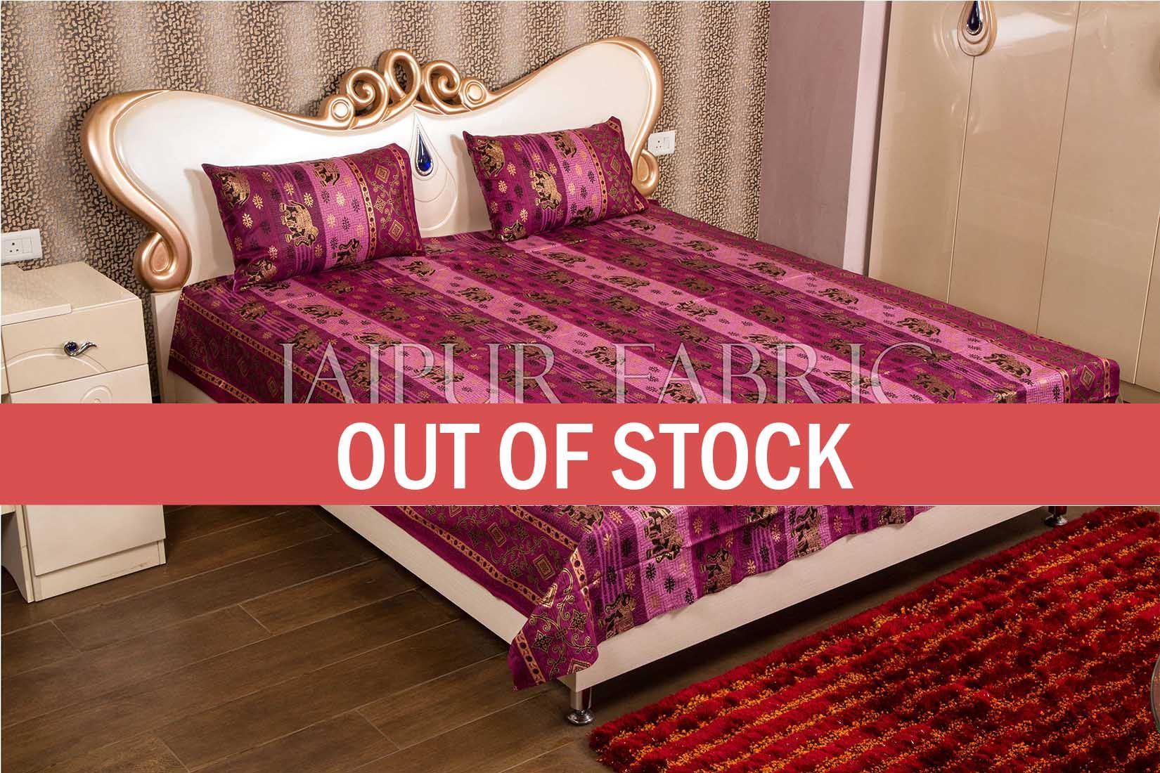 Purple color with Golden Elephant Print Double Bed Sheet with Two Pillow Covers