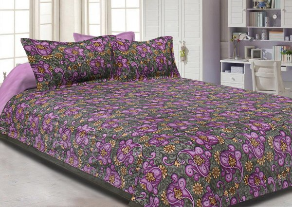 Procion Print Double Bed Sheet with Two Pillow Covers