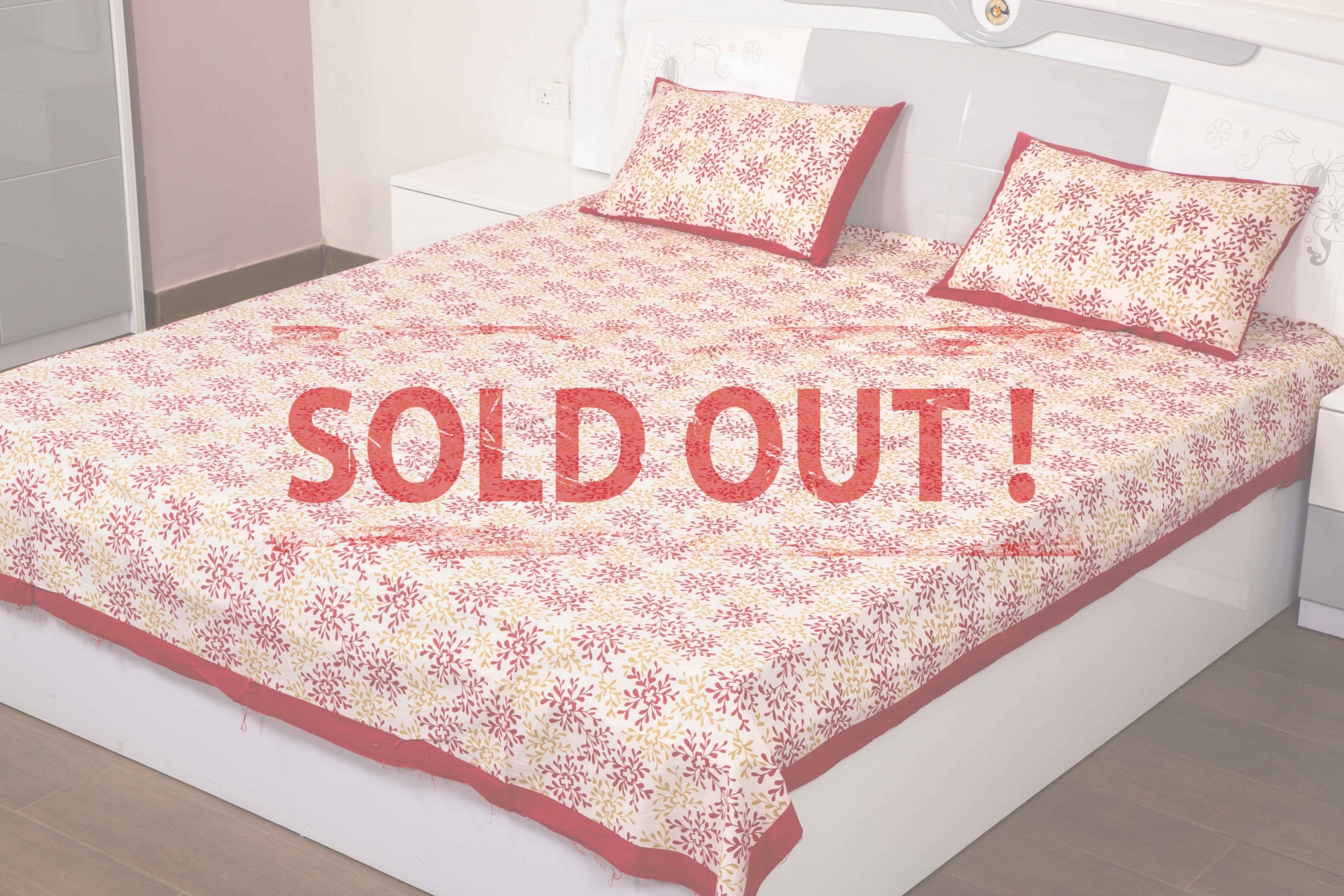 Red Flower With White Base Handmade Block Print Double Bed Sheet with Two Pillow Covers