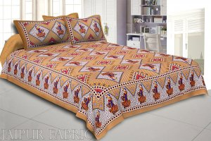 Brown base jaipur Folk dance Design Double Bedsheet With Pillow Covers