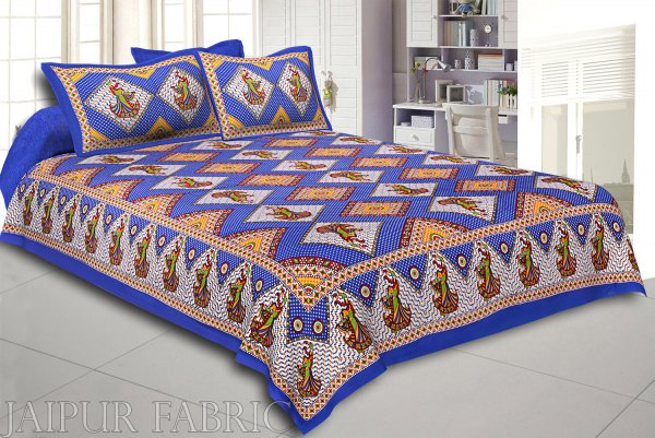 Blue Base jaipur Folk dance Design Double Bedsheet With Pillow Covers