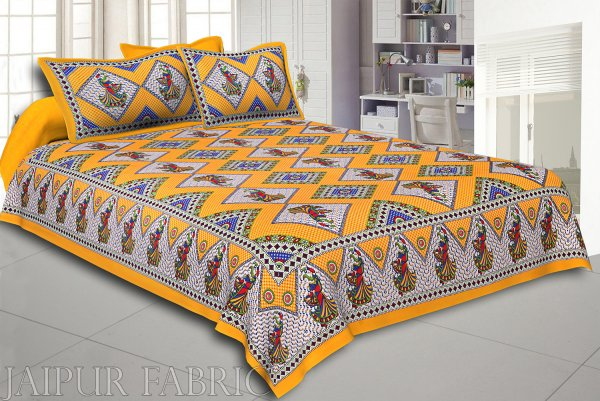 Yellow base jaipur Folk dance Design Double Bedsheet With Pillow Covers
