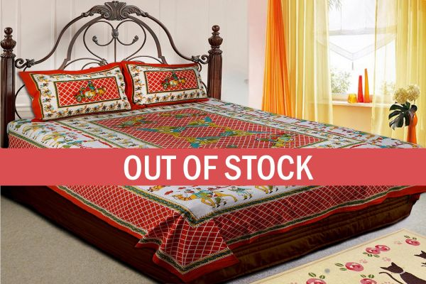 Red Base Multi Color Cattle and cart Print Double Bedsheet with pillow Covers