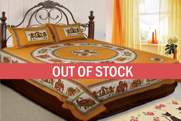 Yellow Base Rajasthani Doli Hand Block Print And Folk dance Design Double Bed Sheet with Pillows Cover