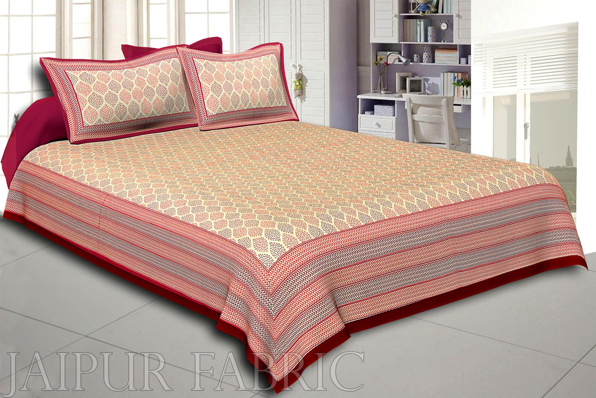 Dark Brown Border Cream Base Leaf Pigment Cotton Satin Hand Block King Size Double Bedsheet