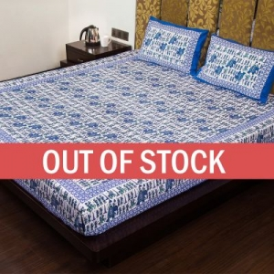 Blue Pastel Color Jaipuri Fat Wedding Print Cotton Double Bed Sheet