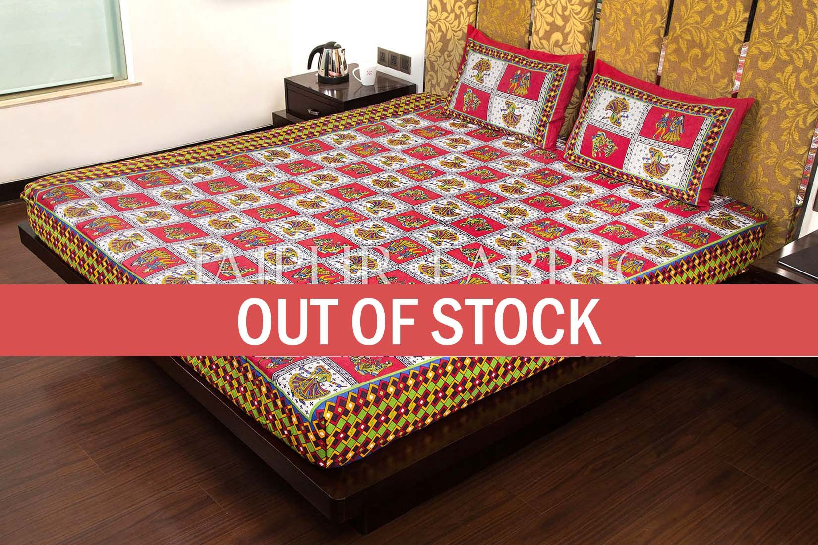 Maroon Color Jaipuri Folk Dance Print Cotton Double Bed Sheet