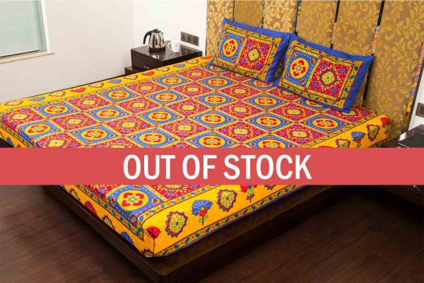 Blue Royal Jaipuri Print Cotton Double Bed Sheet